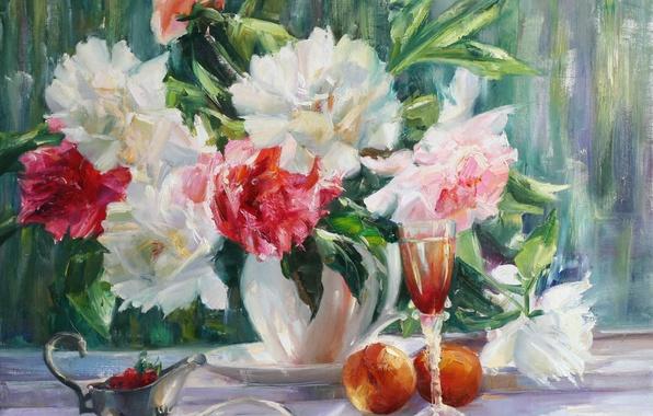 Картинка цветы, природа, нежность, красота, букет, лепестки, клубника, ваза, розовые, натюрморт, персики, pink, flowers, пионы, spring, …
