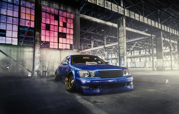 Картинка Lexus, Car, Blue, Front, Smoke, Elvis, Stancenation, LS400