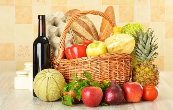 Картинка вино, красное, корзина, яблоки, бутылка, яйца, сыр, лук, хлеб, перец, фрукты, ананас, овощи, капуста