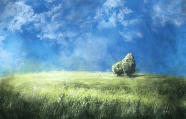 Картинка поле, небо, трава, облака, деревья, птицы, природа, арт