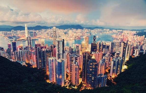 Картинка облака, город, огни, вечер, гонг конг, Hong Kong