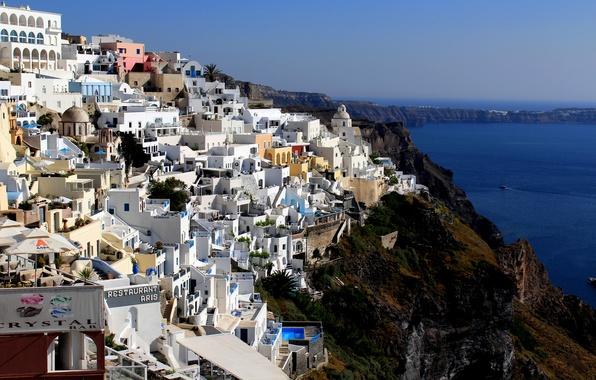 Картинка море, скалы, побережье, дома, Греция, залив, Santorini