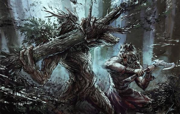Картинка фантастика, волк, арт, топор, оборотень, схватка, werewolf, treant