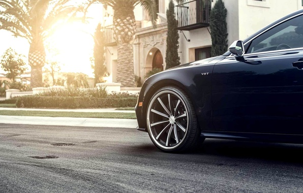 Картинка Audi, Солнце, Ауди, Тюнинг, Колесо, Красиво, Car, Автомобиль, Beautiful, Sun, Wallpapers, Tuning, Обоя, Передок, Vossen, …