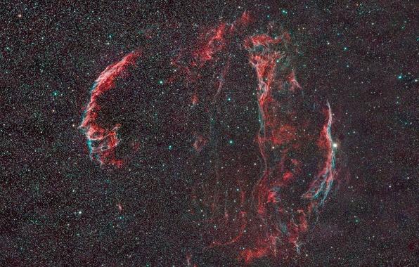 Фото обои в созвездии, космос звезды, диффузная, Вуаль, туманность, Лебедя