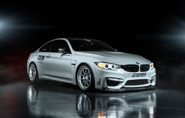Картинка отражение, BMW, white, Coupe, front, F82, ZIMA Motosports