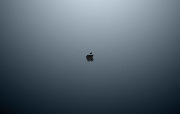 Картинка apple, яблоко, минимализм, текстура, компьютеры, серый фон, текстуры, style, computers