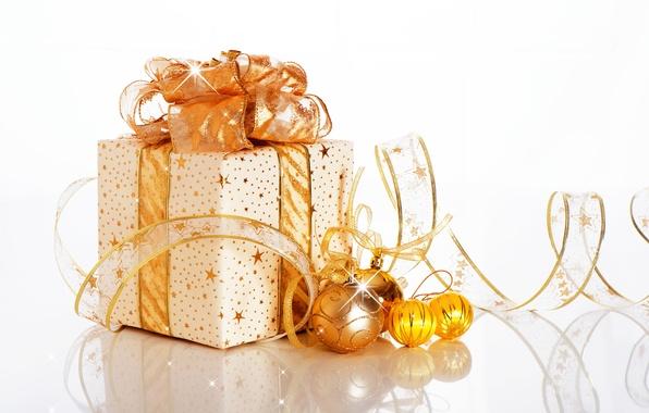Картинка украшения, подарок, шары, Новый год, бантик, New Year, ribbon