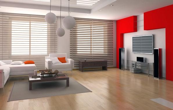 Картинка белый, красный, стиль, стол, комната, диван, интерьер, кресло, телевизор, колонки