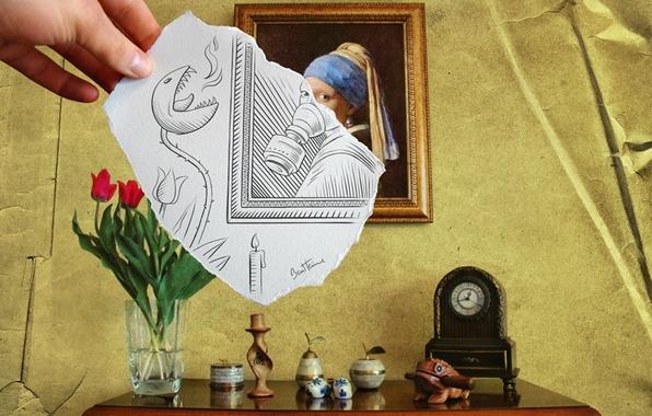 Картинка цветы, картина, ваза, совмещение