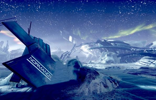 Картинка космос, звезды, снег, корабль, планета, крушение, остов, руины, mass effect 2, нормандия, normandy