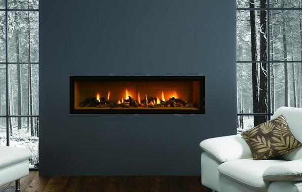 Картинка зима, снег, деревья, природа, серый, огонь, подушки, Комната, кресла, камин