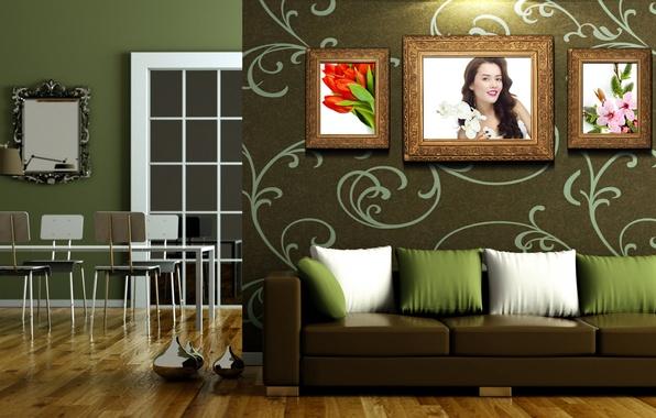 Картинка комната, диван, картины, Столовая, стене