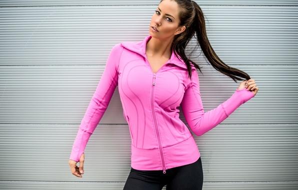 Картинка взгляд, девушка, лицо, фон, волосы, фигура, коса, спортивная одежда