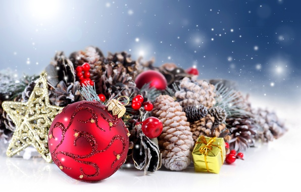 Картинка зима, украшения, подарок, шары, Новый Год, Рождество, star, balls, winter, happy new year, Merry Christmas, …