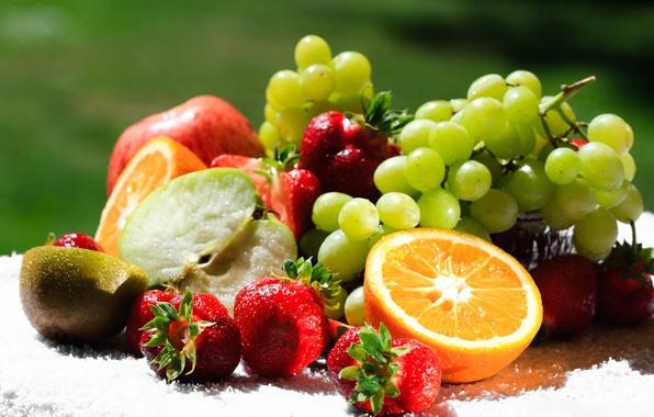 Картинка ягоды, апельсин, еда, киви, клубника, виноград, фрукты