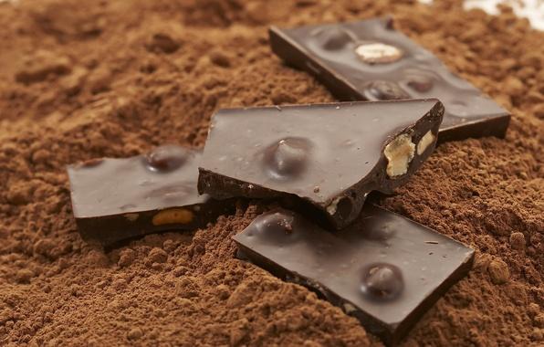 Картинка шоколад, орехи, десерт, 1920x1200, сладкое, chocolate, sweet, nuts, какао, dessert, cocoa