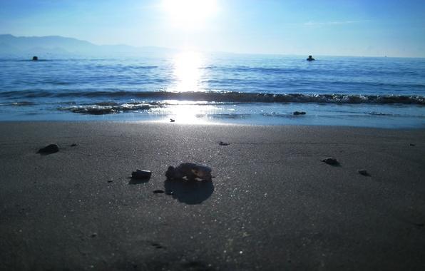 Картинка песок, море, пляж, природа