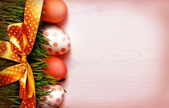 Картинка трава, праздник, яйца, Пасха, лента, бант, Easter