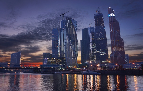 Картинка Закат, Небо, Река, Небоскребы, Москва, Россия, Москва-Сити