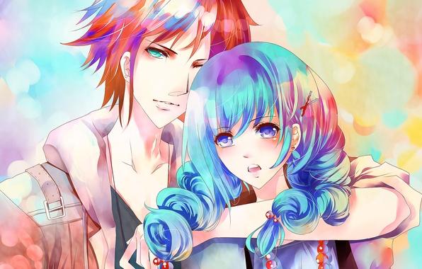 Картинка девушка, арт, пара, парень, синие волосы, aiki-ame, красные бусы