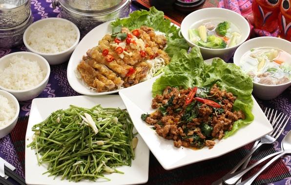 Картинка суп, мясо, рис, овощи, салат, блюда, ассорти, тайваньская кухня