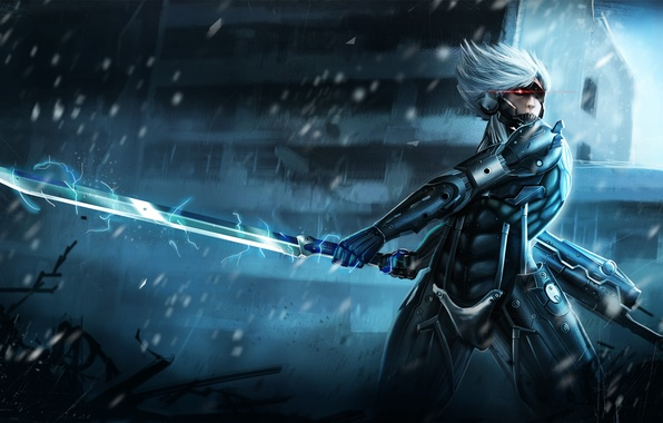 Картинка энергия, меч, воин, броня, Raiden, Metal Gear Rising