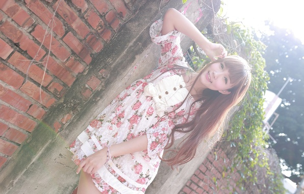 Картинка лето, взгляд, девушка, лицо, волосы, платье, азиатка