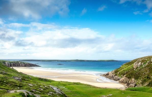 Картинка море, пляж, небо, облака, пейзаж, природа, скалы, Шотландия, Scotland, Alba