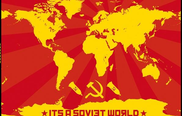 Картинка звезда, молот, карта мира, коммунизм, бомбы, серп