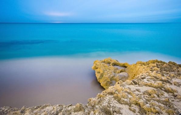Картинка море, пляж, небо, вода, скалы, утро