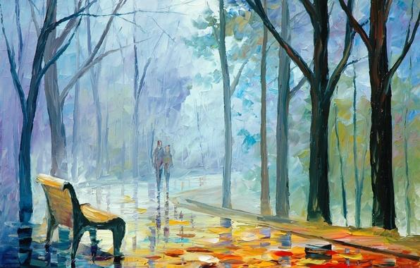 Картинка осень, листья, девушка, деревья, люди, лавочка, пара, парень, живопись, Leonid Afremov