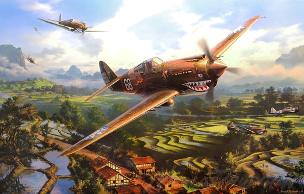 Картинка war, art, painting, aviation, artwork, drawing, ww2, a6m zero, p-40 tomahawk, flying tygers