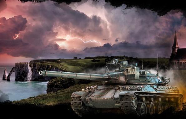 Картинка море, гроза, пейзаж, тучи, скалы, берег, молния, арт, танк, средний, World of Tanks, французский, AMX …