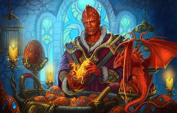 Картинка замок, яйца, драконы, свечи, окно, фэнтези, арт, витраж, ящер, клетки, мужчина, рождение, Alexandra Semushina
