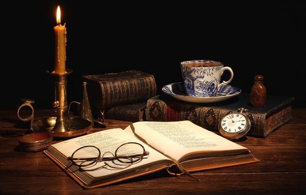 Картинка чай, часы, книги, свеча, очки, чашка, натюрморт