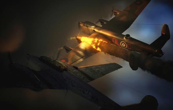 Картинка огонь, пламя, графика, истребитель, арт, бомбардировщик, самолёты, британский, стратегический, тяжелый, немецкий, WW2, четырехмоторный, Avro 683 ...