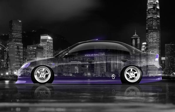 Картинка Авто, Неон, Машина, Обои, City, Хонда, Honda, Car, Фиолетовый, Арт, Art, Photoshop, Фотошоп, Wallpapers, Neon, …