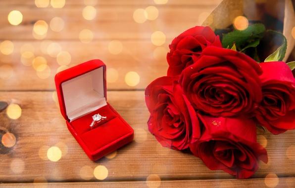Картинка подарок, розы, букет, кольцо, бутоны