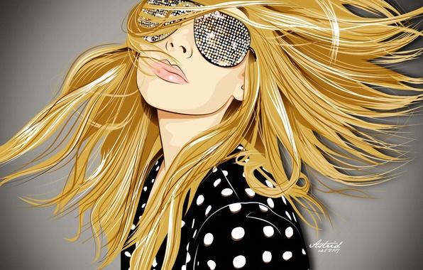 Картинка девушка, лицо, стиль, обои, волосы, графика, вектор, арт, очки, блондинка