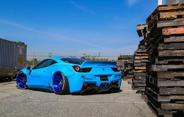 Картинка Ferrari, 458, Blue, Italia, Edition, Rear, Liberty, Walk
