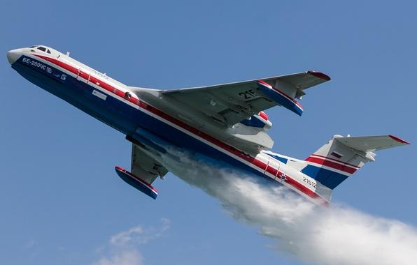 Картинка полёт, российский, гидросамолёт, самолёт-амфибия, Бе-200ЧС