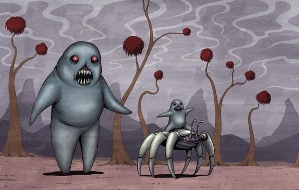 Картинка рисунок, краб, ребенок, пасть, монстры, клыки, прогулка, пришельцы, катание, rob sheridan, мать