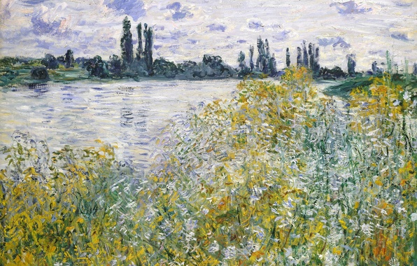 Фото обои Клод Моне, картина, Остров Цветов на Сене близ Ветёя, пейзаж