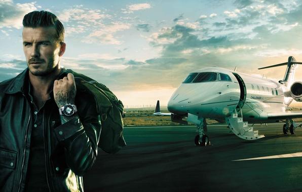 Картинка самолет, часы, David Beckham, Дэвид Бекхэм, Breitling