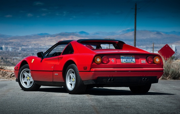 Картинка Феррари, Ferrari, вид сзади, GTS, 328, 1985