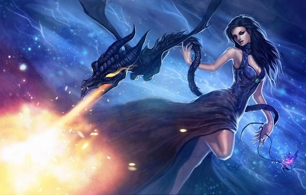 Картинка девушка, огонь, магия, дракон, фэнтези, арт