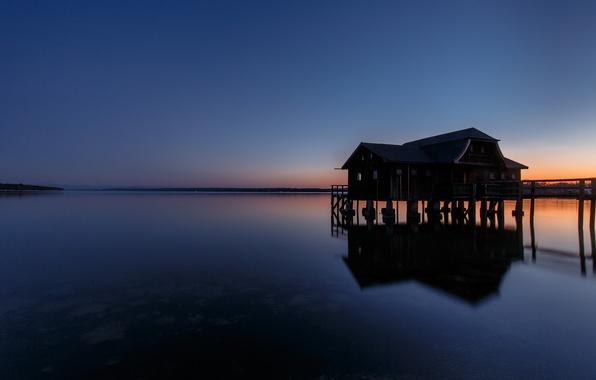 Картинка небо, закат, озеро, гладь, отражение, спокойствие, тишина, вечер, Германия, Бавария, Germany, Bavaria, Lake Ammersee, Аммерзе, …