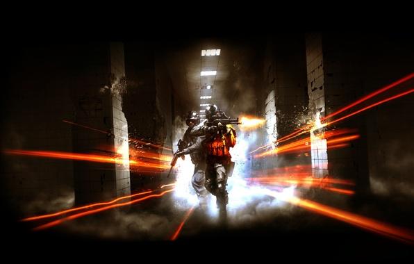 Картинка свет, оружие, огонь, дым, лампа, кафель, колонны, Battlefield 3