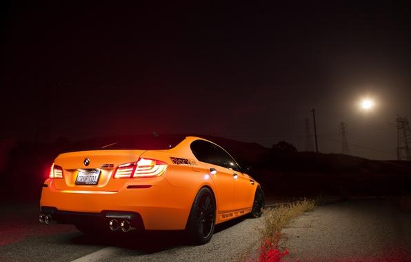 Картинка свет, оранжевый, фары, BMW, БМВ, Orange, задок, f10